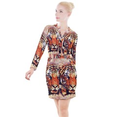 Tiger Portrait Art Abstract Button Long Sleeve Dress