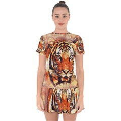 Tiger Portrait Art Abstract Drop Hem Mini Chiffon Dress