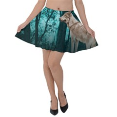 Wolf Forest Velvet Skater Skirt by greenthanet