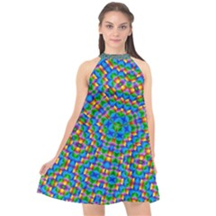 Abstract Background Rainbow Halter Neckline Chiffon Dress  by Jojostore