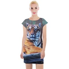 Tiger Animal Print Cap Sleeve Bodycon Dress by chihuahuadresses