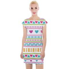 Geometry Line Shape Pattern Cap Sleeve Bodycon Dress