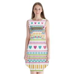 Geometry Line Shape Pattern Sleeveless Chiffon Dress