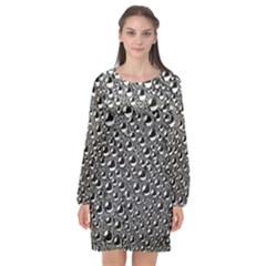 Water Bubble Photo Long Sleeve Chiffon Shift Dress