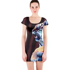 Tiger Animal Print Short Sleeve Bodycon Dress by chihuahuadresses