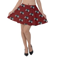 Red Badgers Velvet Skater Skirt by greenthanet
