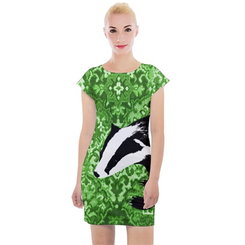 Tapestry Badgers Cap Sleeve Bodycon Dress