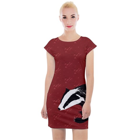 Red Badgers Cap Sleeve Bodycon Dress