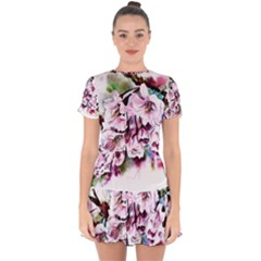 Watercolour Cherry Blossoms Drop Hem Mini Chiffon Dress by Bejoart