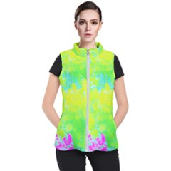 Fluorescent Yellow And Pink Abstract Garden Foliage Women s Puffer Vest