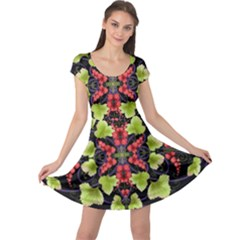 Pattern Berry Red Currant Plant Cap Sleeve Dress