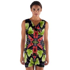 Pattern Berry Red Currant Plant Wrap Front Bodycon Dress by Bejoart