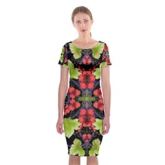 Pattern Berry Red Currant Plant Classic Short Sleeve Midi Dress by Bejoart
