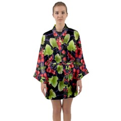 Pattern Berry Red Currant Plant Long Sleeve Kimono Robe by Bejoart