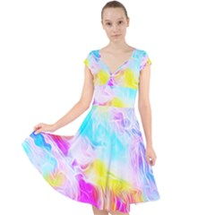 Background Drips Fluid Colorful Cap Sleeve Front Wrap Midi Dress by Bejoart