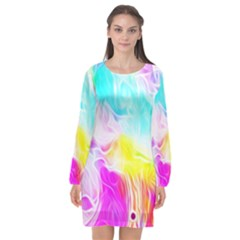 Background Drips Fluid Colorful Long Sleeve Chiffon Shift Dress