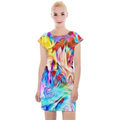 Background Drips Fluid Colorful Cap Sleeve Bodycon Dress
