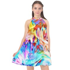 Background Drips Fluid Colorful Halter Neckline Chiffon Dress