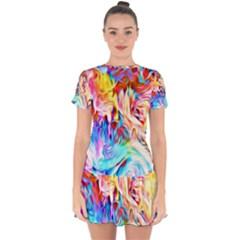 Background Drips Fluid Colorful Drop Hem Mini Chiffon Dress by Bejoart