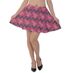 Background Pattern Structure Velvet Skater Skirt