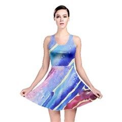 Painting Abstract Blue Pink Spots Reversible Skater Dress