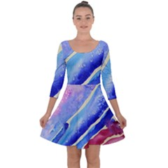 Painting Abstract Blue Pink Spots Quarter Sleeve Skater Dress