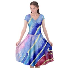 Painting Abstract Blue Pink Spots Cap Sleeve Wrap Front Dress