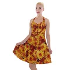 Tile Flower Autumn Chrysanthemum Halter Party Swing Dress  by Bejoart
