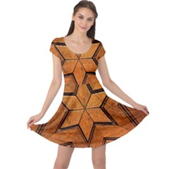 Wood Pattern Texture Surface Cap Sleeve Dress