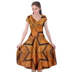Wood Pattern Texture Surface Cap Sleeve Wrap Front Dress by Bejoart