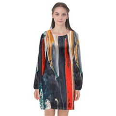 Art Modern Painting Background Long Sleeve Chiffon Shift Dress  by Bejoart