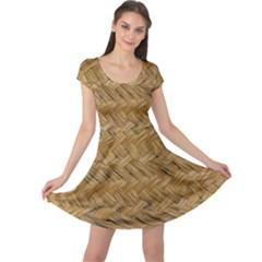 Esparto Tissue Braided Texture Cap Sleeve Dress
