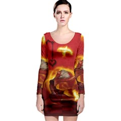 Wonderful Fairy Of The Fire With Fire Birds Long Sleeve Bodycon Dress by FantasyWorld7