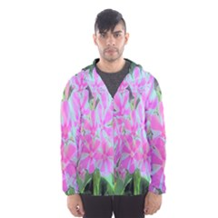 Hot Pink And White Peppermint Twist Garden Phlox Hooded Windbreaker (men) by myrubiogarden