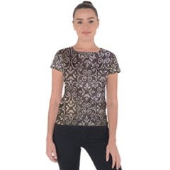 Wordsworth Metallic Pattern Short Sleeve Sports Top  by DeneWestUK