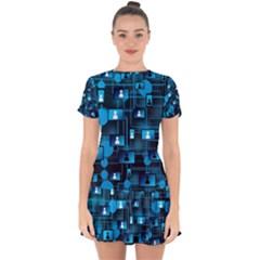 Smartphone System Web News Drop Hem Mini Chiffon Dress