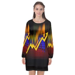 Logo Finance Economy Statistics Long Sleeve Chiffon Shift Dress