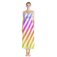 Abstract Lines Mockup Oblique Button Up Chiffon Maxi Dress by Bejoart