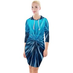 Background Structure Lines Quarter Sleeve Hood Bodycon Dress by Bejoart
