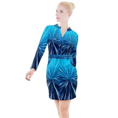 Background Structure Lines Button Long Sleeve Dress by Bejoart