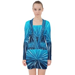 Background Structure Lines V Neck Bodycon Long Sleeve Dress by Bejoart