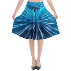 Background Structure Lines Flared Midi Skirt by Bejoart