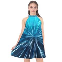 Background Structure Lines Halter Neckline Chiffon Dress