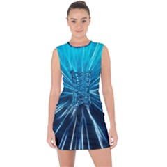 Background Structure Lines Lace Up Front Bodycon Dress by Bejoart