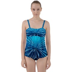 Background Structure Lines Twist Front Tankini Set by Bejoart