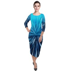 Background Structure Lines Quarter Sleeve Midi Velour Bodycon Dress by Bejoart