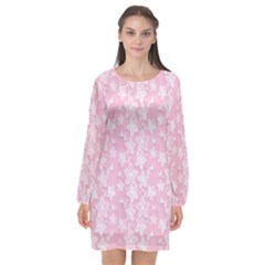 Pink Floral Background Long Sleeve Chiffon Shift Dress  by Bejoart