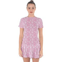 Pink Floral Background Drop Hem Mini Chiffon Dress by Bejoart