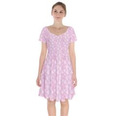 Pink Floral Background Short Sleeve Bardot Dress