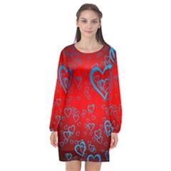 Heart Light Course Love Long Sleeve Chiffon Shift Dress  by Bejoart